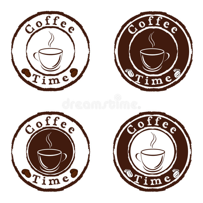 Kaffeezeitstempel eingestellt lizenzfreie abbildung