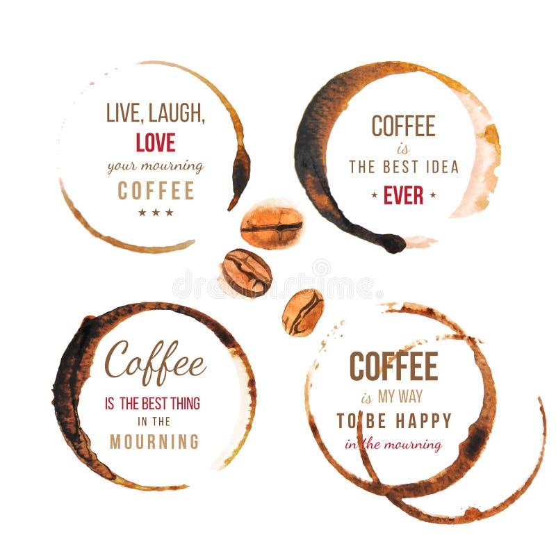 Kaffefläckar med typ royaltyfri illustrationer