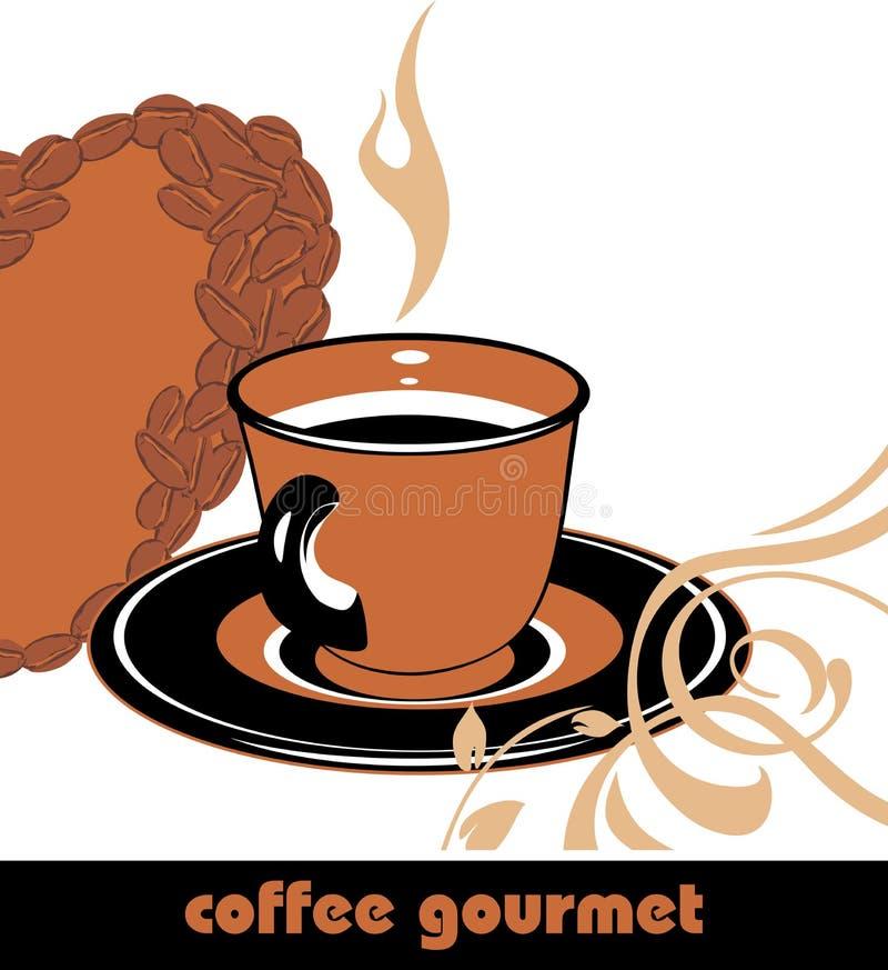 Kaffegourmet. Bakgrund för design royaltyfri illustrationer