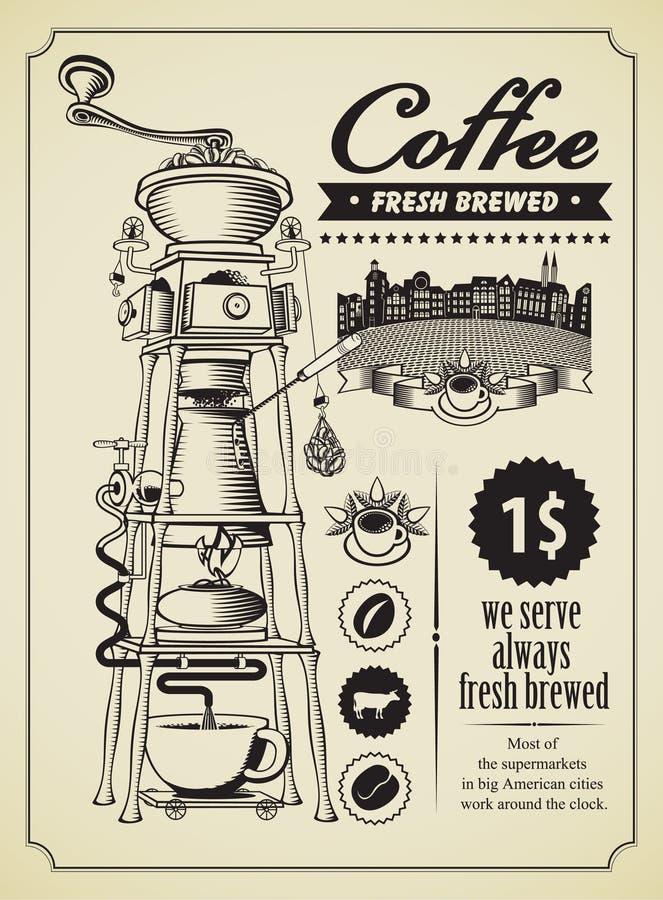 Kaffegrinder stock illustrationer