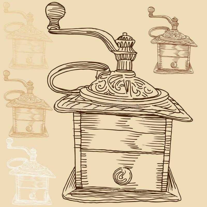 kaffegrinder vektor illustrationer