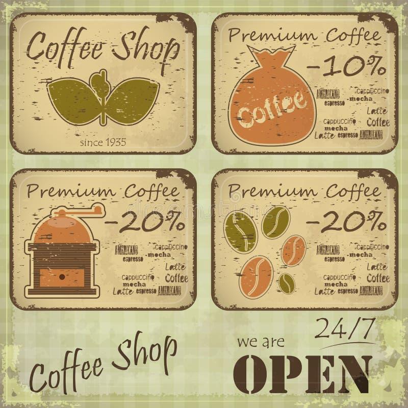 kaffegrunge märker retro stil royaltyfri illustrationer