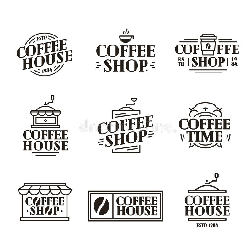 Kaffehuset och shoppar logouppsättningen med den pappers- koppen kaffe, den svarta färglinjen stil för maskinen vektor illustrationer