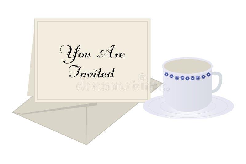 kaffeinbjudan royaltyfri illustrationer