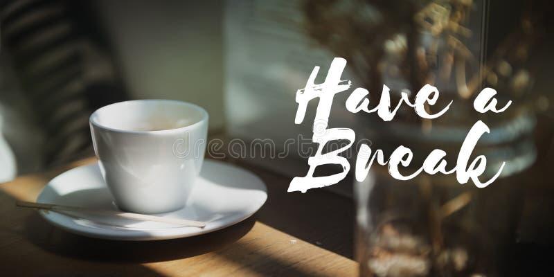 Kaffekoffein kopplar av kafét kopplar av begrepp royaltyfri foto