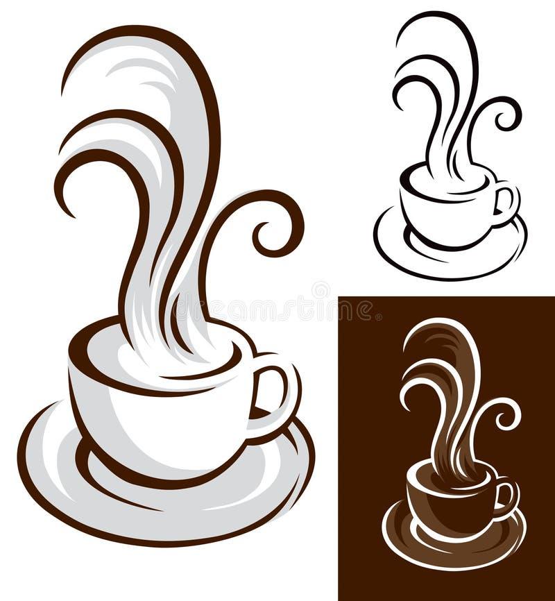 Kaffekopp med ånga vektor illustrationer