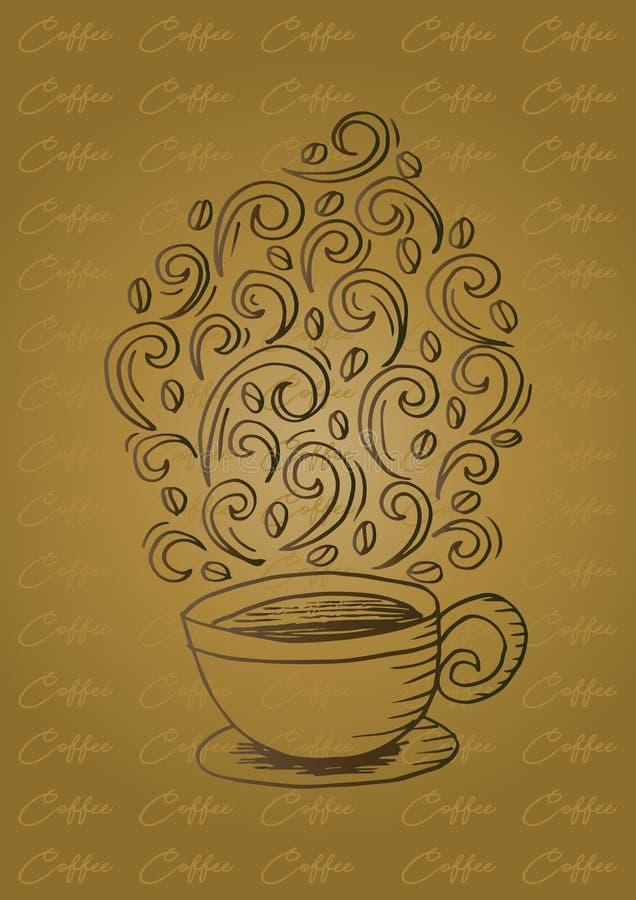 Kaffekopp med den abstrakta prydnaden royaltyfri illustrationer