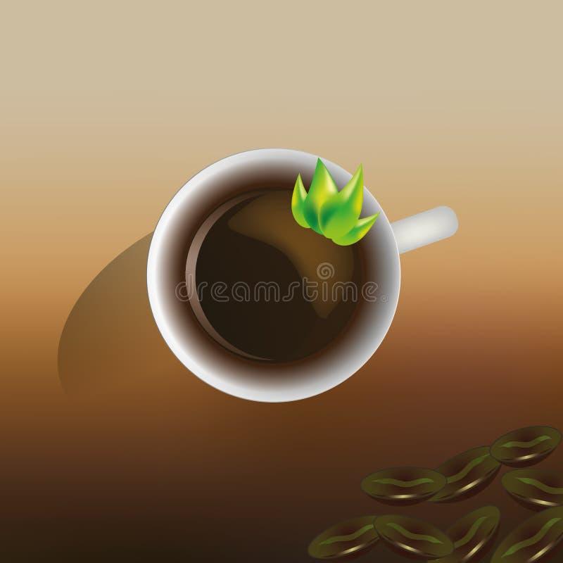 Kaffekopp med kaffebönor i EPS 10 arkivfoto