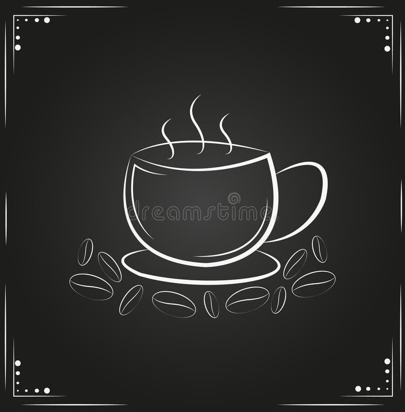 Kaffekopp med kaffebönor omkring royaltyfri bild