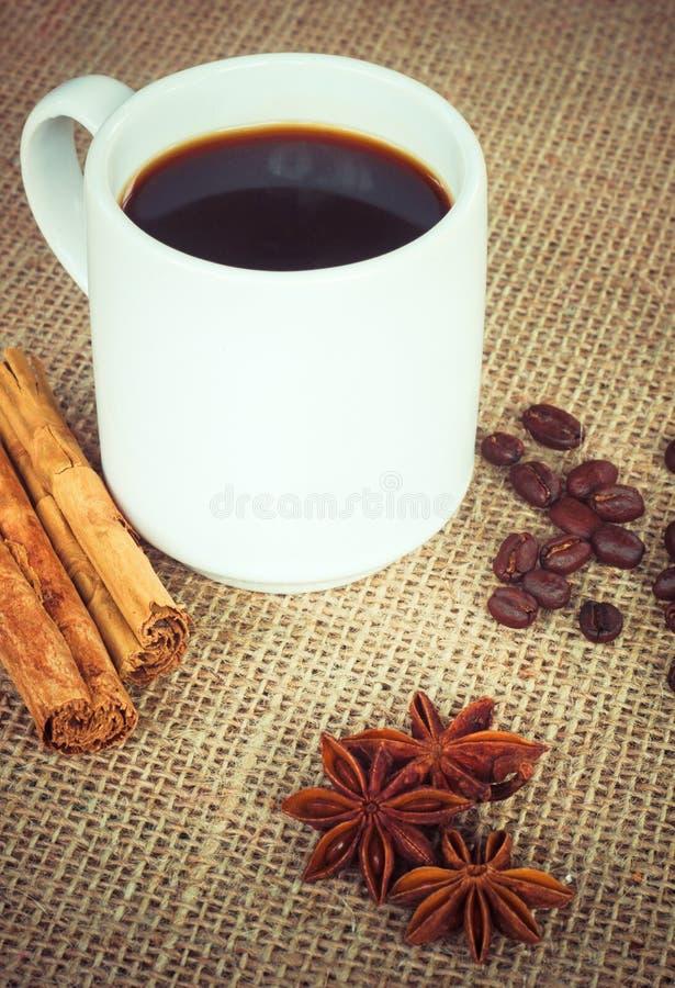 Kaffekopp med kanel, anis och bönor royaltyfria bilder