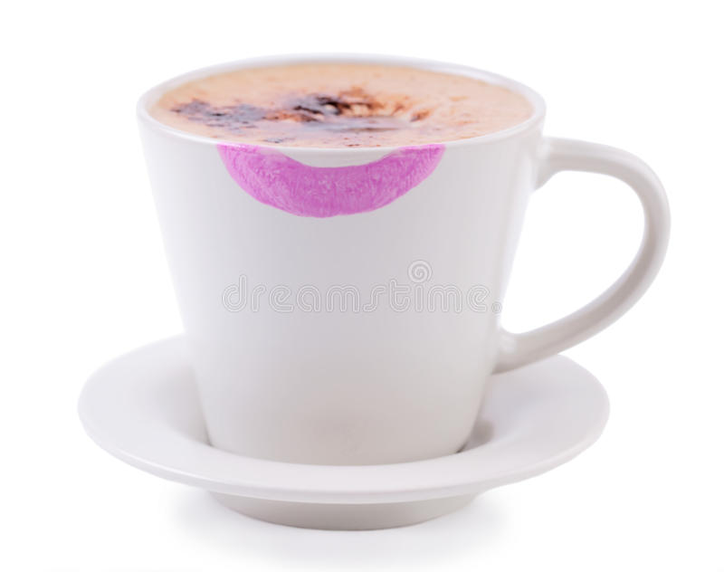 Kaffekopp med läppstifttrycket royaltyfri bild