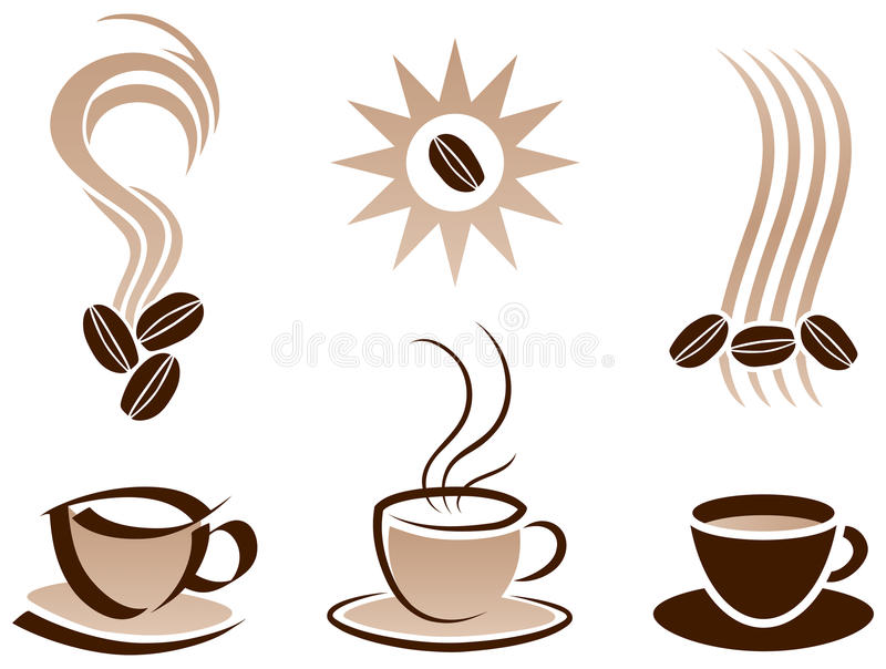 Kaffekopp och bönor vektor illustrationer