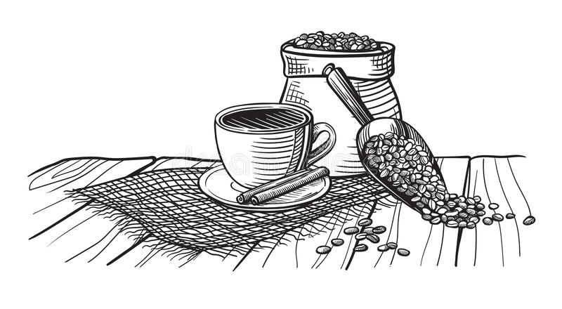 Kaffekopp och kaffebönor på den wood tabellen royaltyfri illustrationer