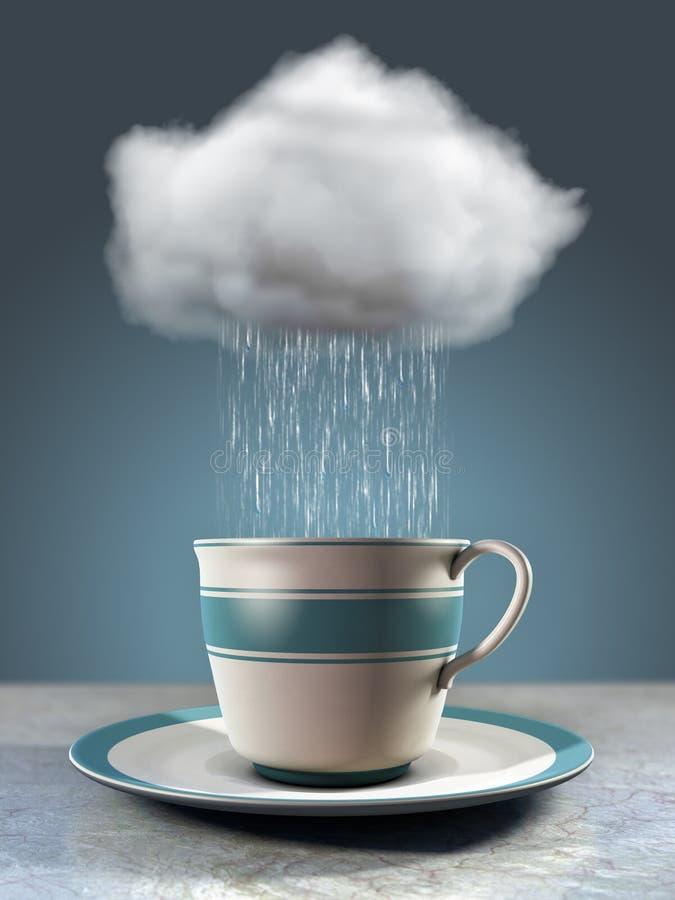Kaffekopp och moln vektor illustrationer
