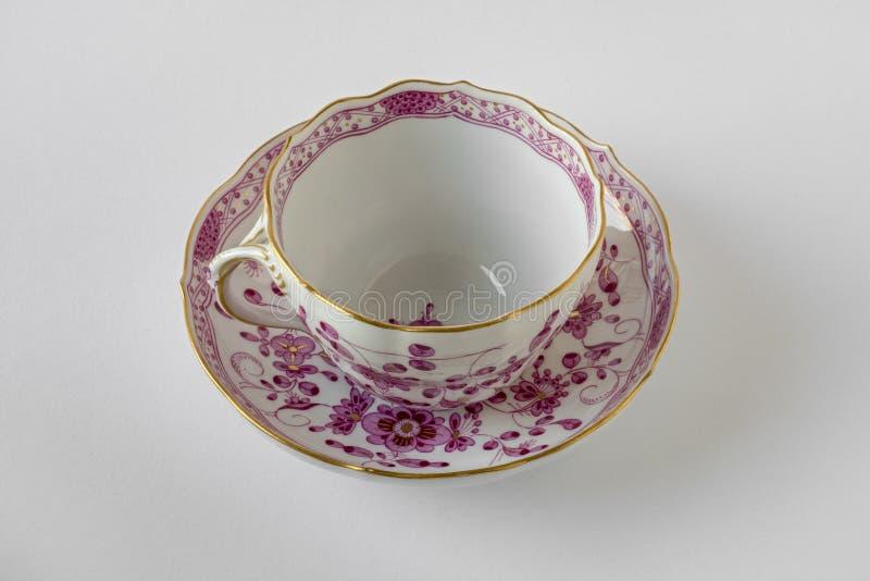 Kaffekopp och tefat, Meissen porslin fotografering för bildbyråer