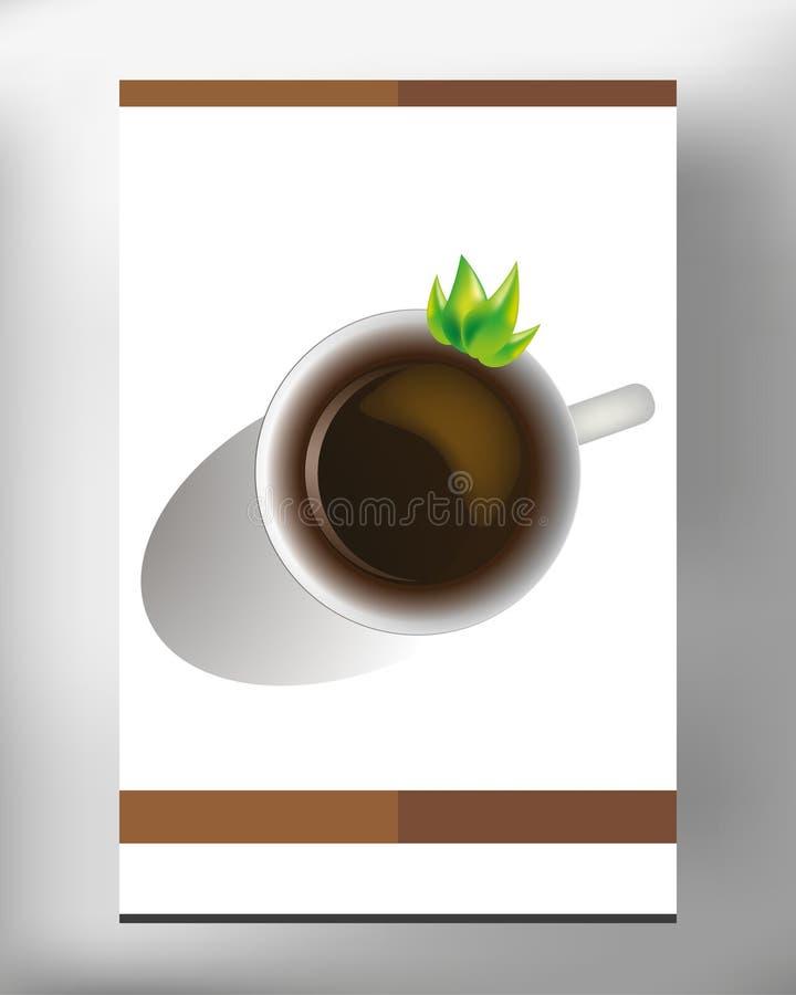 Kaffekopp på det vita arket i vektorn EPS 10 royaltyfria foton