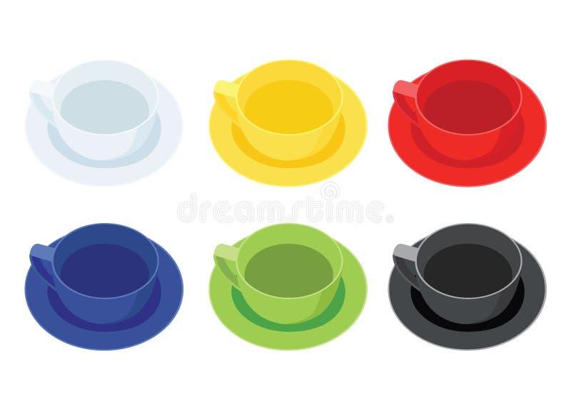 Kaffekopp på tefatet svart för mång- färg för många kaffekoppar vit gul röd blå grön royaltyfri illustrationer