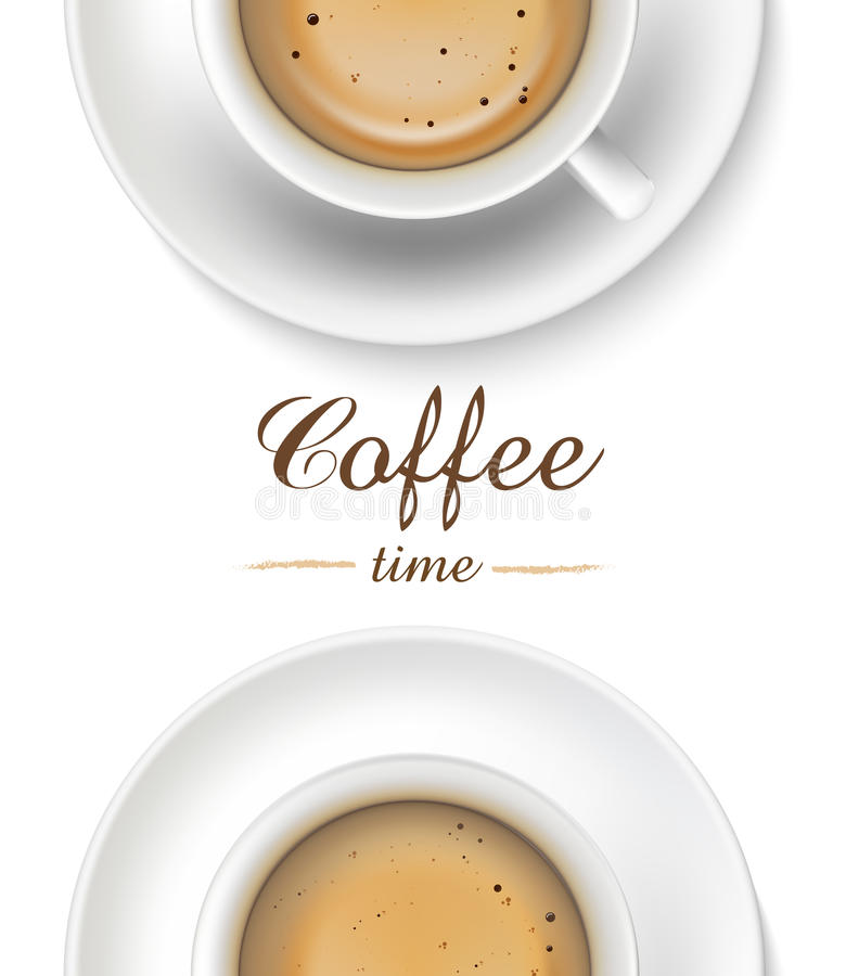 Kaffekopp på vit bakgrund, bästa sikt royaltyfri illustrationer