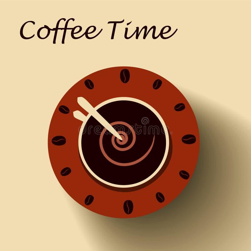 Kaffekopp som klockan KaffeTid begrepp stock illustrationer