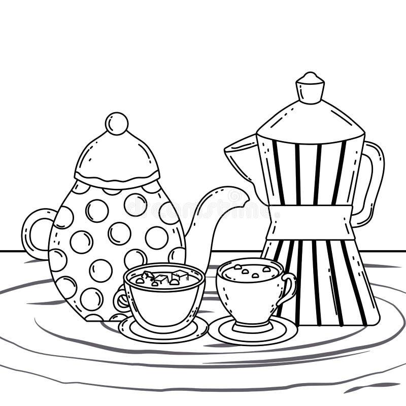 Kaffekoppar lägger in och tillverkarevektordesignen royaltyfri illustrationer