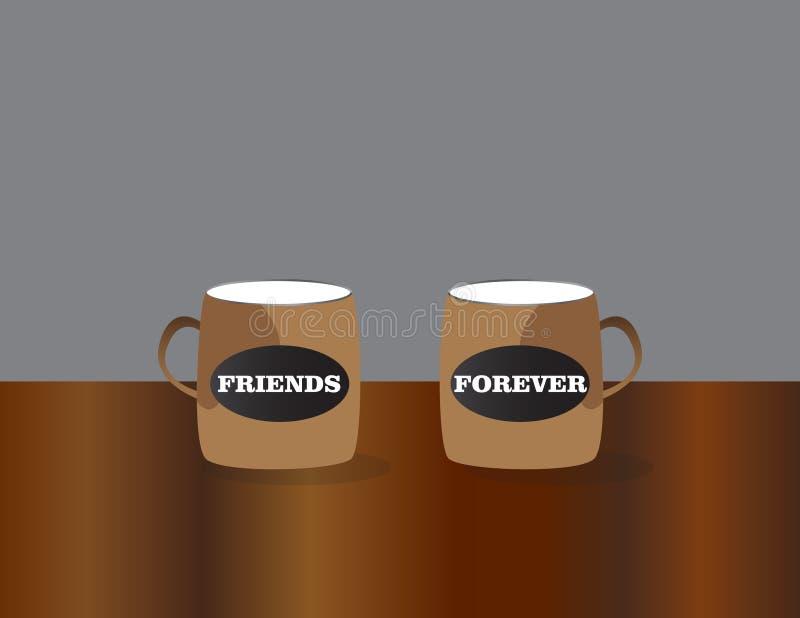 Kaffekoppar med bästa väntext Bakgrund f?r kamratskapdagber?m royaltyfri illustrationer