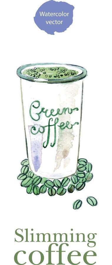 Kaffekoppen med bantar gröna det kaffebönor och bladet vektor illustrationer
