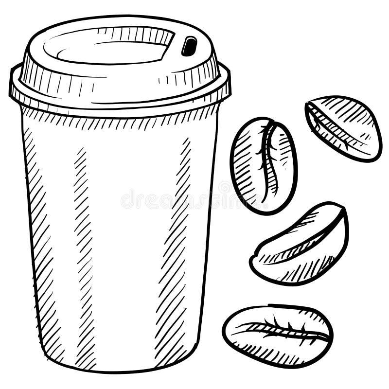 Kaffekoppen skissar stock illustrationer