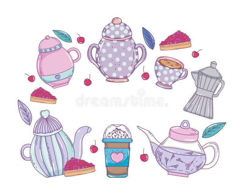 Kaffekrukatillverkare och drinkvektordesign royaltyfri illustrationer