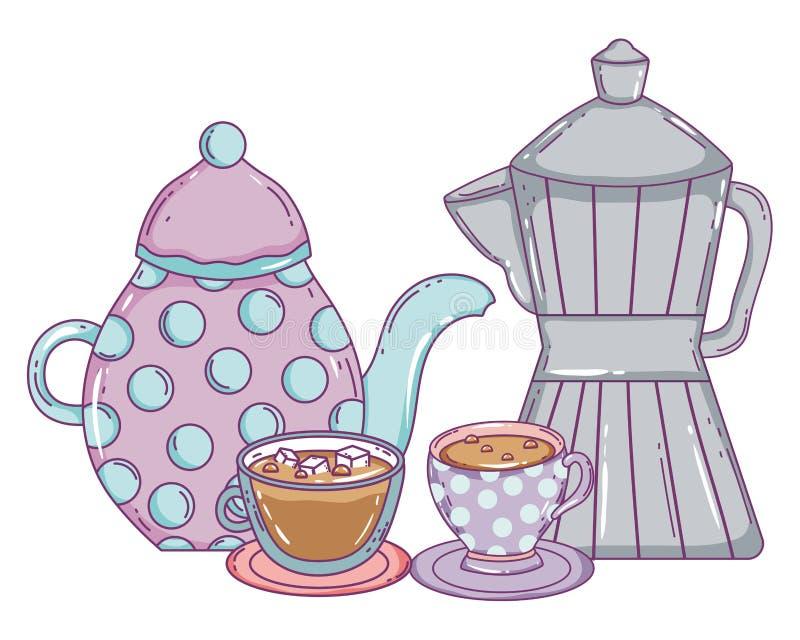 Kaffekrukatillverkare och koppvektordesign stock illustrationer