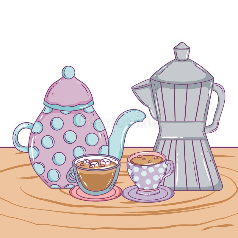 Kaffekrukatillverkare och koppvektordesign royaltyfri illustrationer