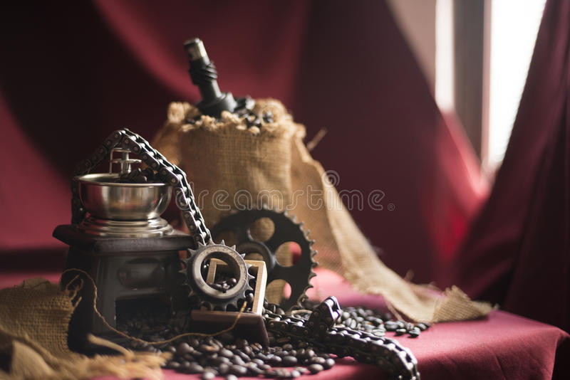 Kaffekvarn med motorobjekt arkivfoto