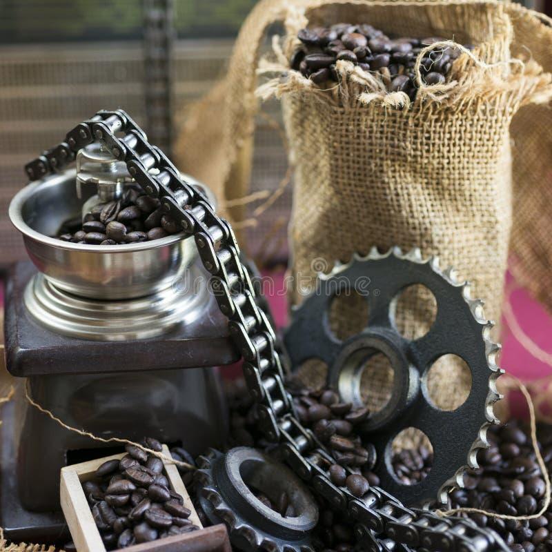 Kaffekvarn- och motorkugghjul royaltyfri fotografi