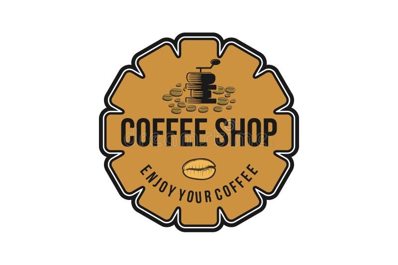 Kaffekvarnen tappning förser med märke Logo Designs Inspiration, vektorillustration stock illustrationer