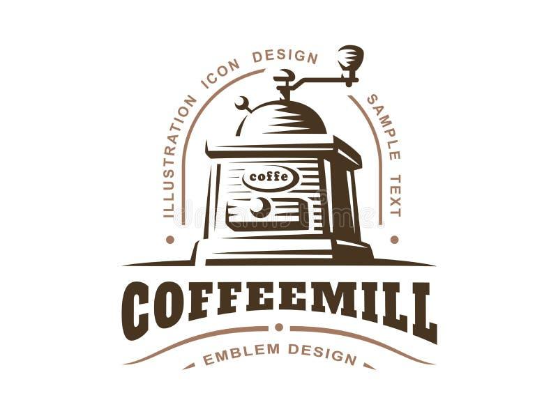 Kaffekvarnlogo - vektorillustration, emblem på vit bakgrund stock illustrationer
