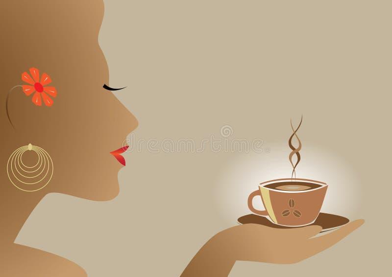 kaffekvinna royaltyfri illustrationer