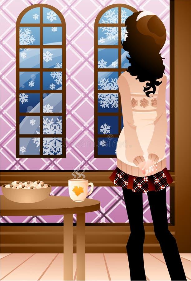 kaffekvinnor stock illustrationer
