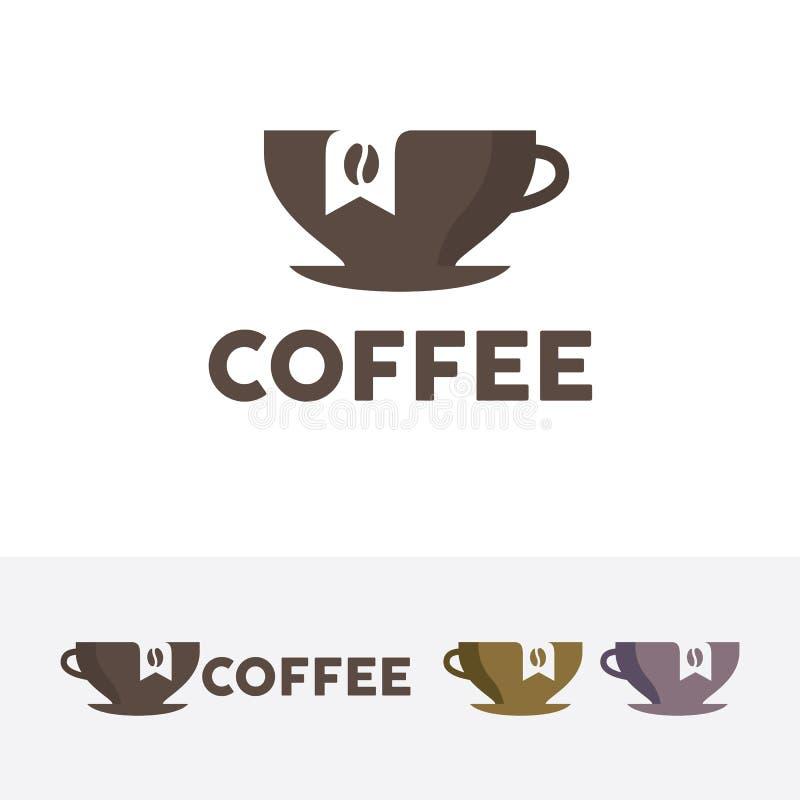 Kaffemärkeslogo stock illustrationer