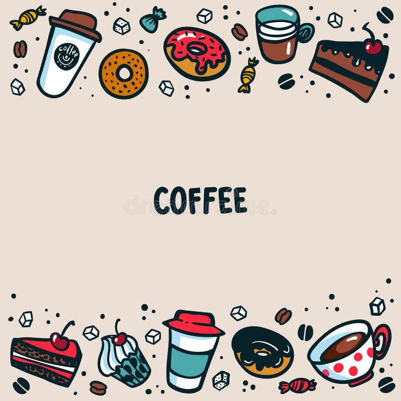 Kaffemall Färgrika koppar, bakelse och kakor för klotterstilkaffe på ljus bakgrund med kopieringsutrymme Utmärkt för vektor illustrationer
