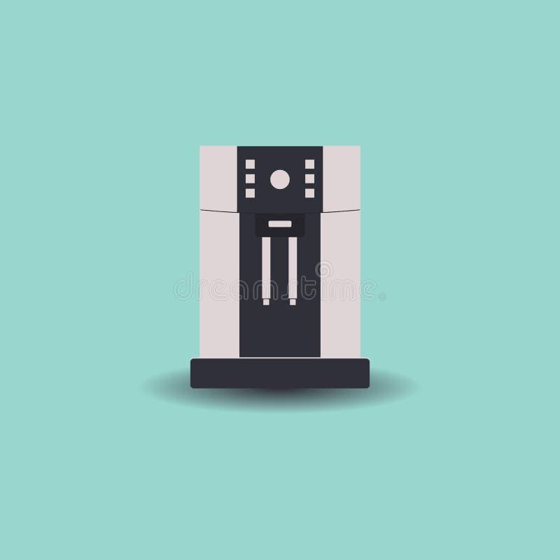 Kaffemaskin för kontor och hem Isolerat p? ljus - gr?n bakgrund ocks? vektor f?r coreldrawillustration vektor illustrationer