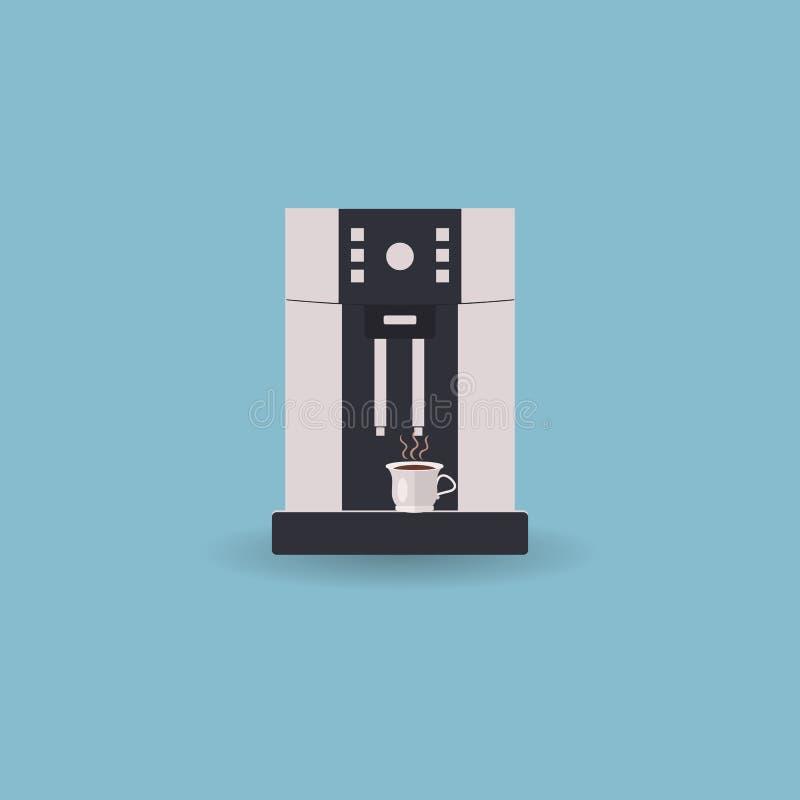 Kaffemaskin för kontor och hem med koppen av varmt kaffe gulligt vinka f?r pingvintecknad film ocks? vektor f?r coreldrawillustra royaltyfri illustrationer