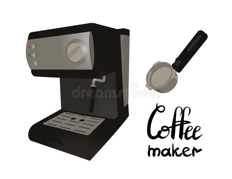 Kaffemaskin med portafilter Märka kaffebryggaren royaltyfri illustrationer