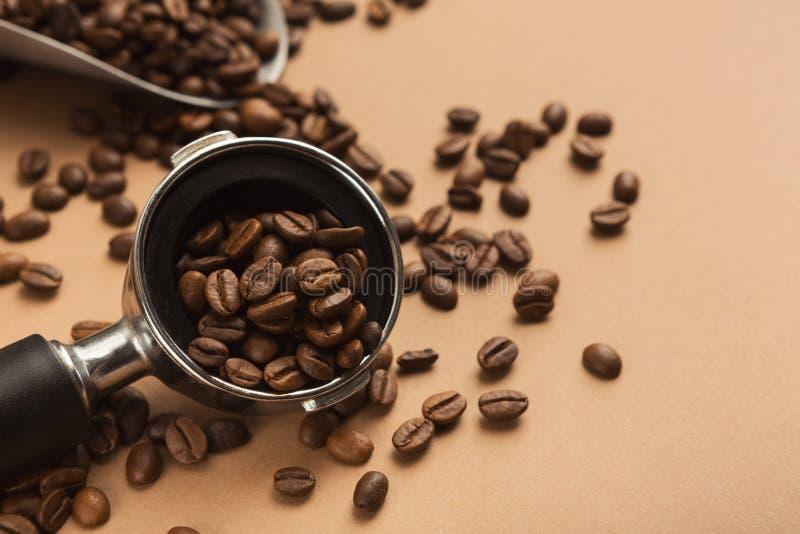 Kaffemaskinhållare med jordning grillade bönor royaltyfria foton