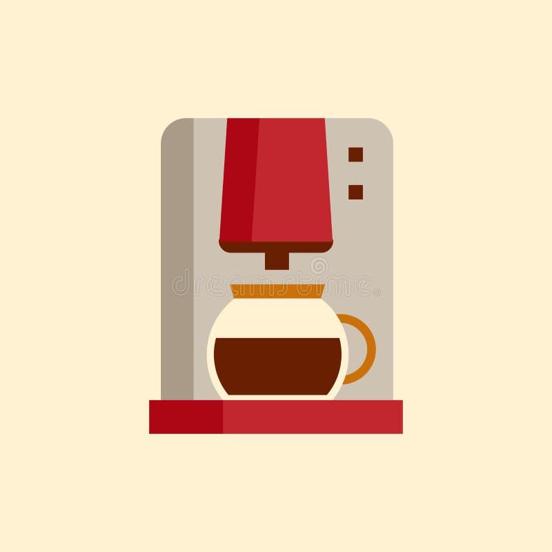 Kaffemaskinsymbol, modern design för plan stil stock illustrationer