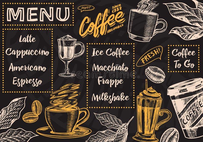 Kaffemenybakgrund i tappningstil Detta ?r sparar av EPS10 formaterar Skissar den utdragna inristade affischen för handen, det ret royaltyfri illustrationer