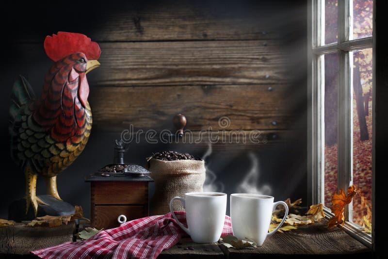 Kaffemorgonljus fotografering för bildbyråer