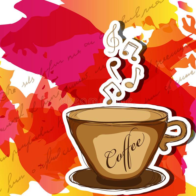 kaffemusik royaltyfri illustrationer