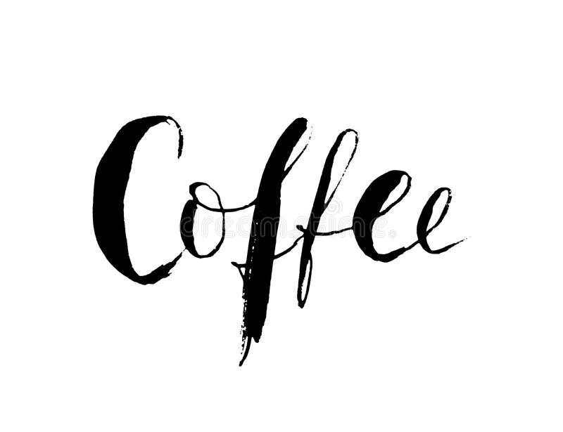 Kaffeord Hand dragen bokstäver Svart illustration för vektor som isoleras på vit bakgrund Modern borstekalligrafi royaltyfri illustrationer