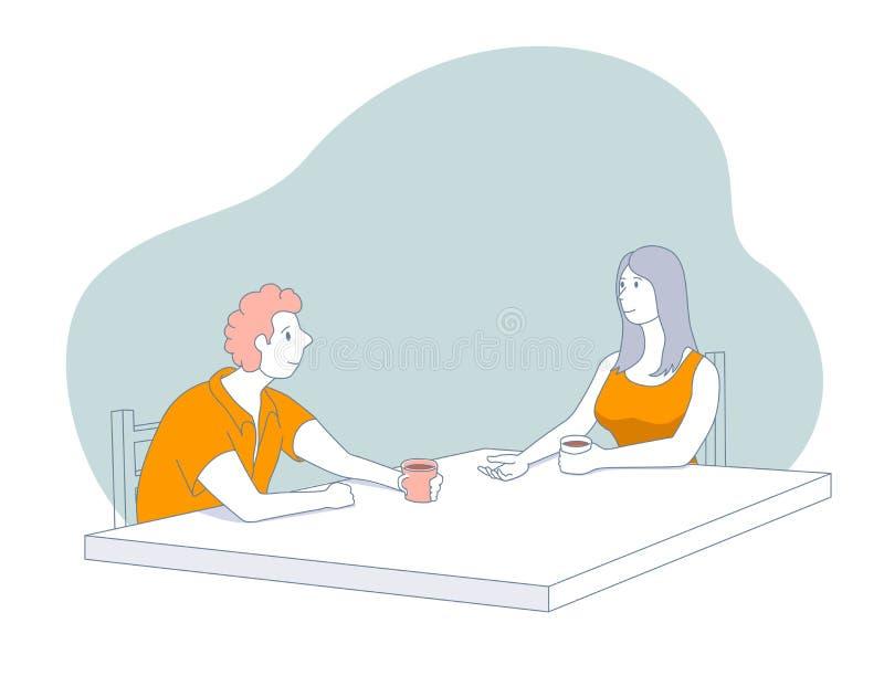 kaffepar som tillsammans dricker vektor illustrationer