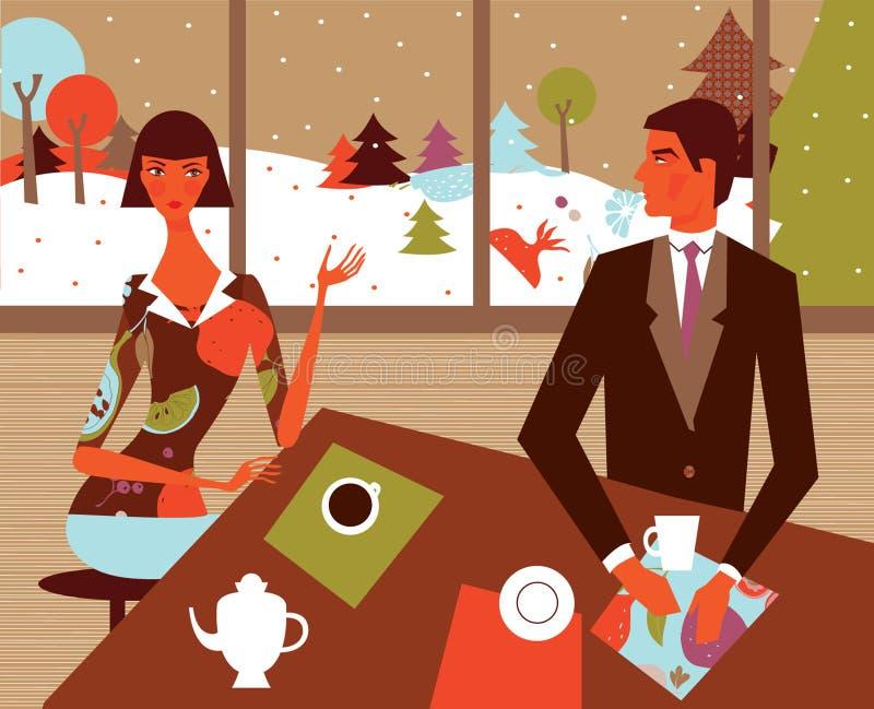 kaffeparvinter royaltyfri illustrationer