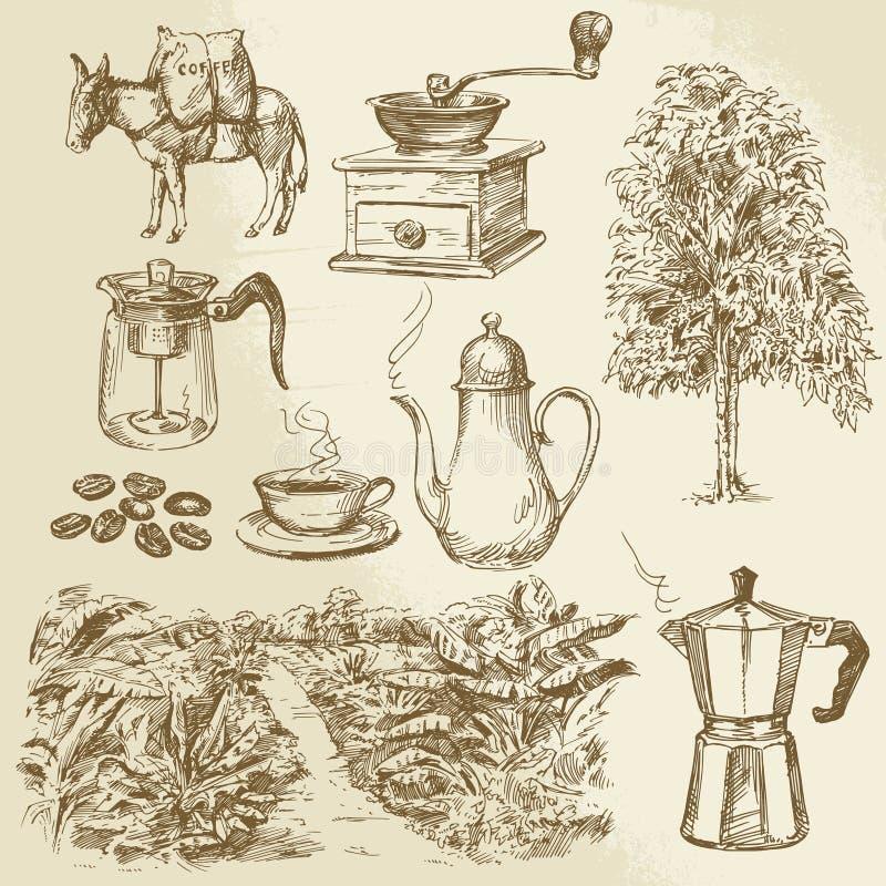Kaffesamling stock illustrationer